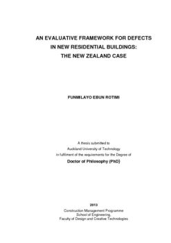 AN EVALUATIVE FRAMEWORK FOR DEFECTS IN NEW RESIDENTIAL