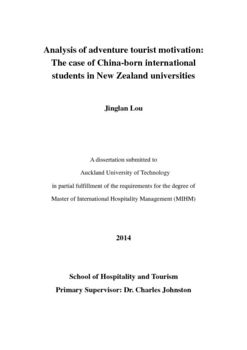 Analysis Of Adventure Tourist Motivation: The Case Of China-born  International Students In New Zealand Universities