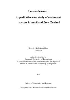 Lessons Learned: A Qualitative Case Study Of Restaurant Success In  Auckland, New Zealand