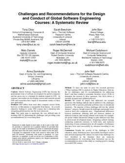 Challenges And Recommendations For The Design And Conduct Of Global Software Engineering Courses A Systematic Review